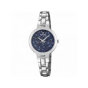 Orologio analogico silver con swarovski blu F20379/2