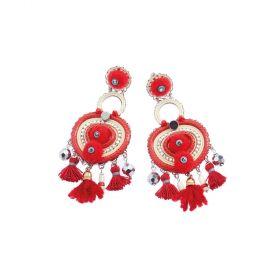 500280O-Ottaviani Bijoux Orecchini Pendenti con Cristalli, Perline e Filo di Cotone Rosso