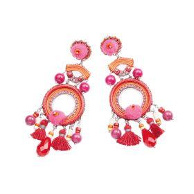 500281O-Ottaviani Bijoux Orecchini Pendenti con Cristalli,Perline, strass e Filo Arancio e Fucsia