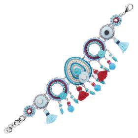500283B-Ottaviani bijoux Bracciale con cristalli,resina,perline, strass e filo di cotone azzurro