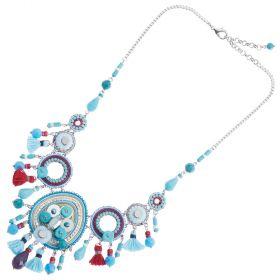 500283C-Ottaviani Bijoux Collana con Cristalli, Resina, Perline Strass e Filo di Cotone Azzurro