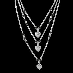 8003-Osa Mayrose Collana a tre giri con pendenti a forma di cuore in argento rodiato e pietre nere