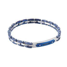 Bracciale modulare con piastrina in ceramica blu e zirconi Boccadamo Man ABR439B