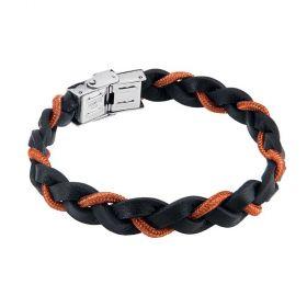 Bracciale a treccia in pelle con cordino marino arancione  ABR481A