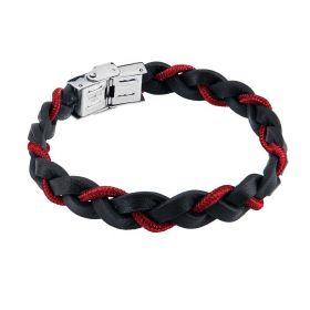 Bracciale a treccia in pelle nera con cordino marino rosso  ABR481R