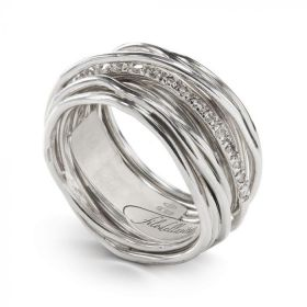 AN13ABT-Filo della Vita Anello Collezione Classic 13 fili in Argento 925 e Diamanti Bianchi 0.21 ct  Misura 16