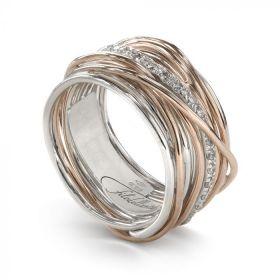 AN13ARBT-Filo della Vita Anello Collezione Classic 13 fili in Oro Rosa 9kt, Argento 925 e Diamanti Bianchi 0.21ct Misura 15