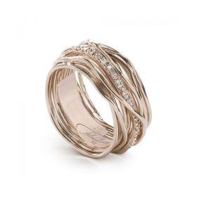 AN13RBT-Filo della Vita Anello Collezione Classic 13 fili in Oro Rosa 9kt e Diamanti Bianchi 0.18ct Misura 18