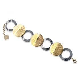 KOB5/24-KEMIRA Bracciale in Metallo Anallergico Galvanica Oro e Rutenio