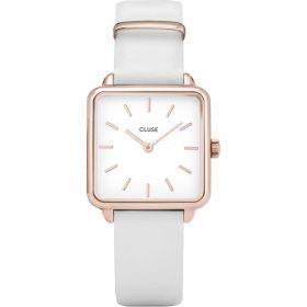 CL60006- Orologio Solo Tempo Quadrato Bianco e Rosé Cluse La Garconne