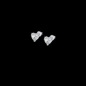 LP2004-4/1-Orecchino Lotus Silver a Cuore con Cristalli Swarosky