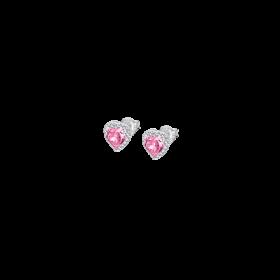 LP2006-4/4- Orecchino Lotus Silver a Goccia con Cristalli Swarosky e Centrale Rosa