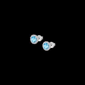 LP2008-4/3- Orecchino Lotus Silver a Bottone con Cristallo Swarosky Azzurro