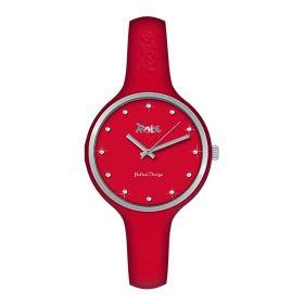 Orologio donna in silicone anallergico rosso, ghiera silver e indici in Swarovski MU017
