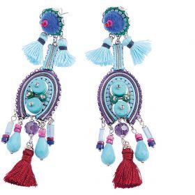 500283O-Ottaviani bijoux Orecchini con Perline, Strass, Resina e filo di Cotone Azzurro