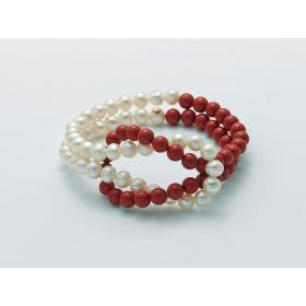PBR2439-MILUNA Bracciale Nodo di Perle e Pasta di Corallo