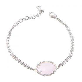 Bracciale con centrale in cristallo briolette rosa e zirconi XBR227R