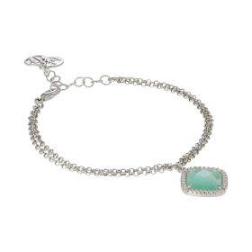 Bracciale con cristallo briolette green mint e zirconi XBR720