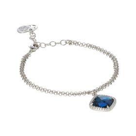 Bracciale con cristallo briolette blue montana e zirconi XBR720B