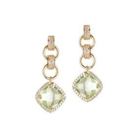 Orecchini con cristallo chrysolite pendente e zirconi XOR405D